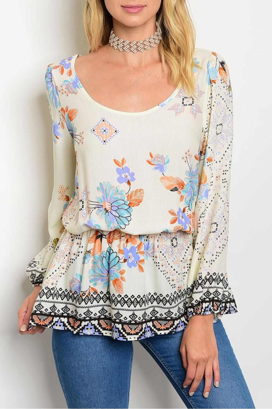 Always Me Cream Multifloral Top - Front Cropped Image
