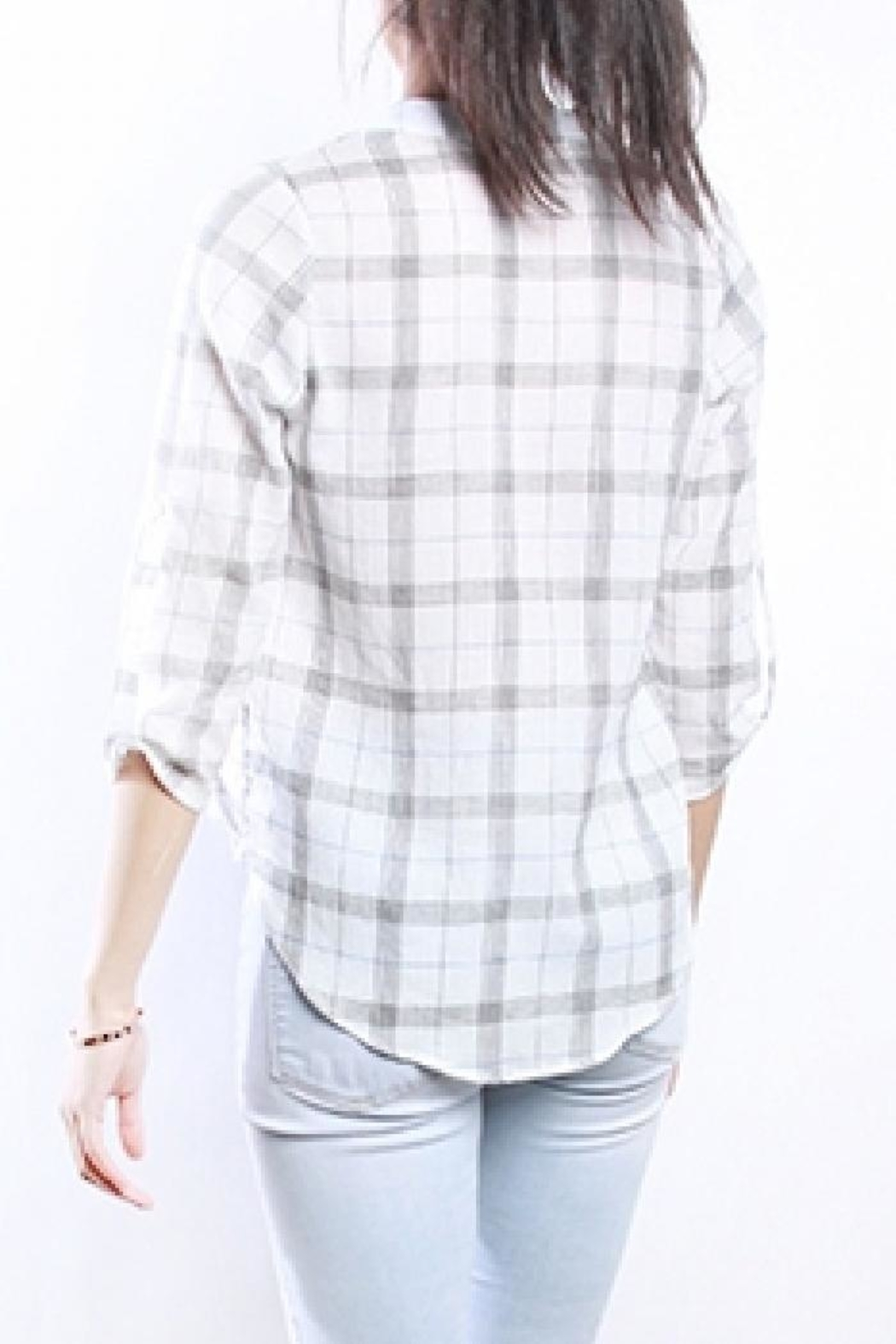Mod Ref Alyssa Plaid Top - Side Cropped Image