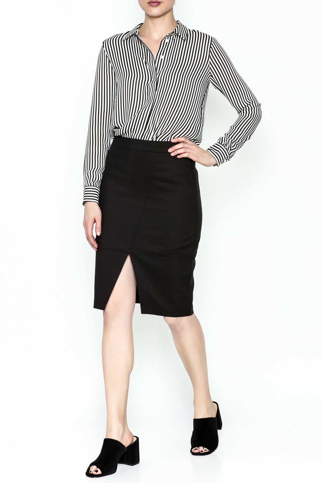 Alythea Black Pencil Skirt - Side Cropped Image