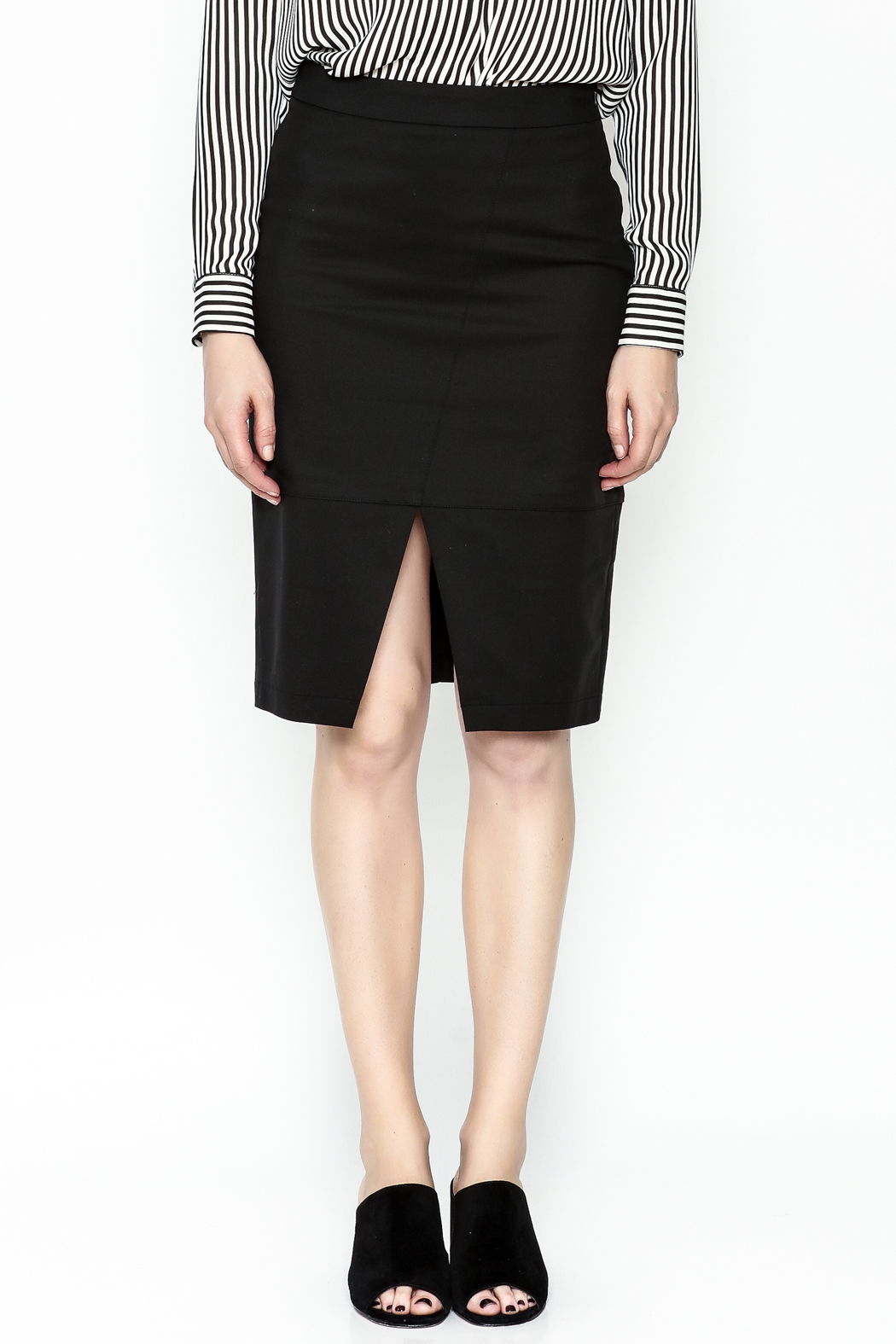Alythea Black Pencil Skirt - Front Full Image