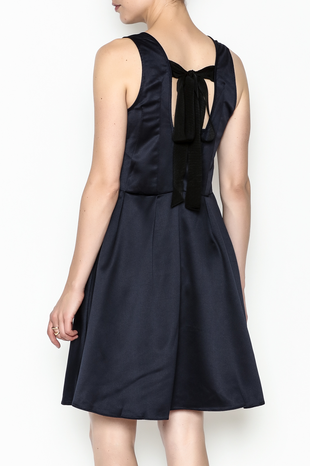 Alythea Satin Tie Back Dress - Back Cropped Image