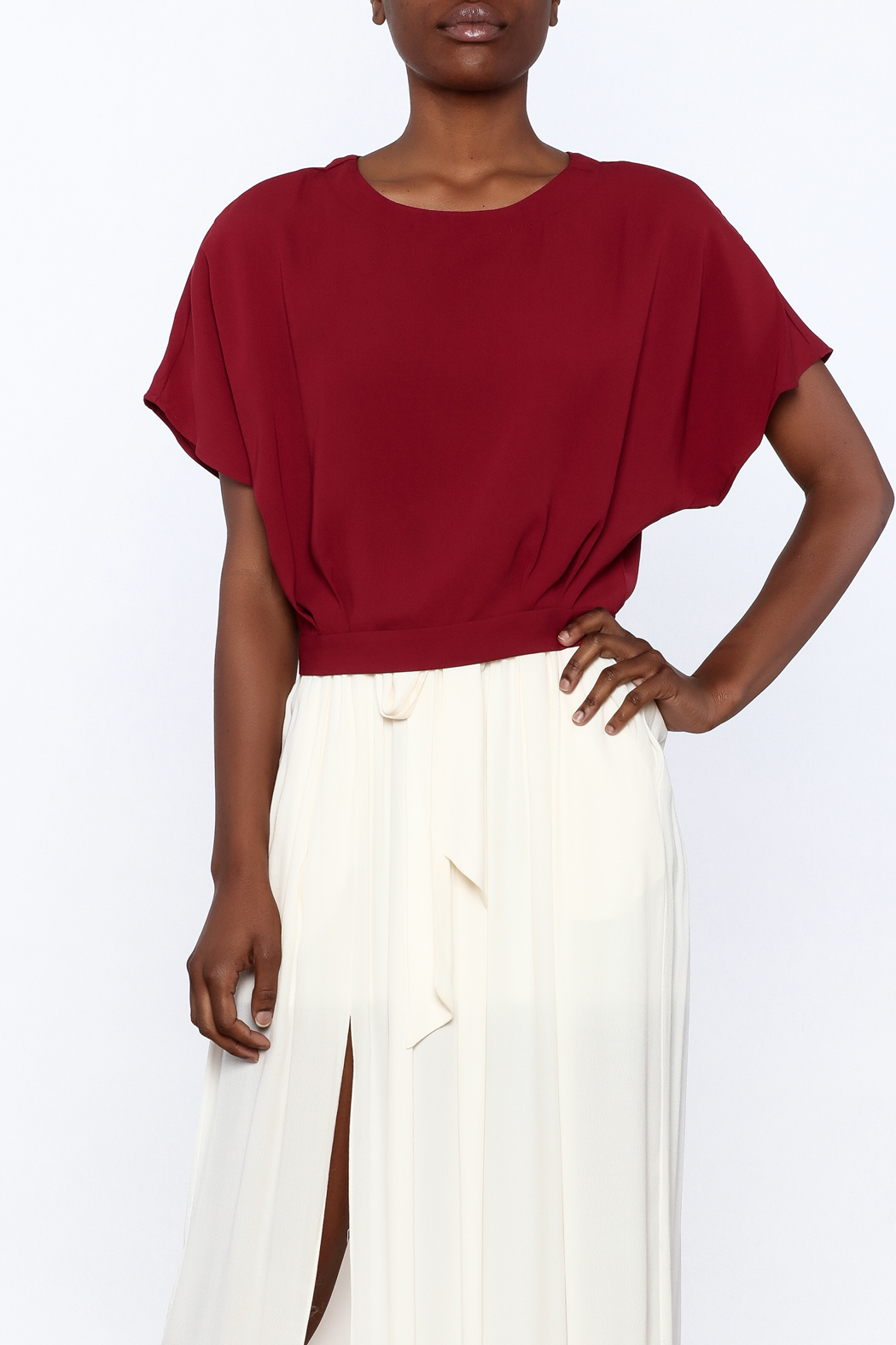 Alythea Burgundy Woven Top - Main Image