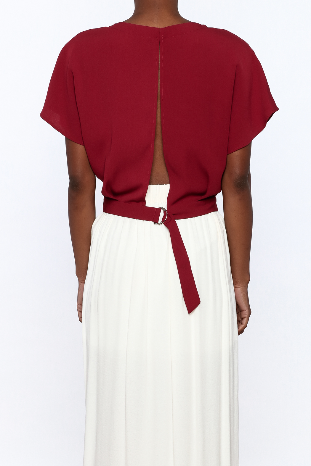 Alythea Burgundy Woven Top - Back Cropped Image
