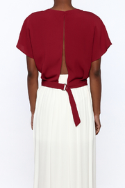 Alythea Burgundy Woven Top - Back cropped