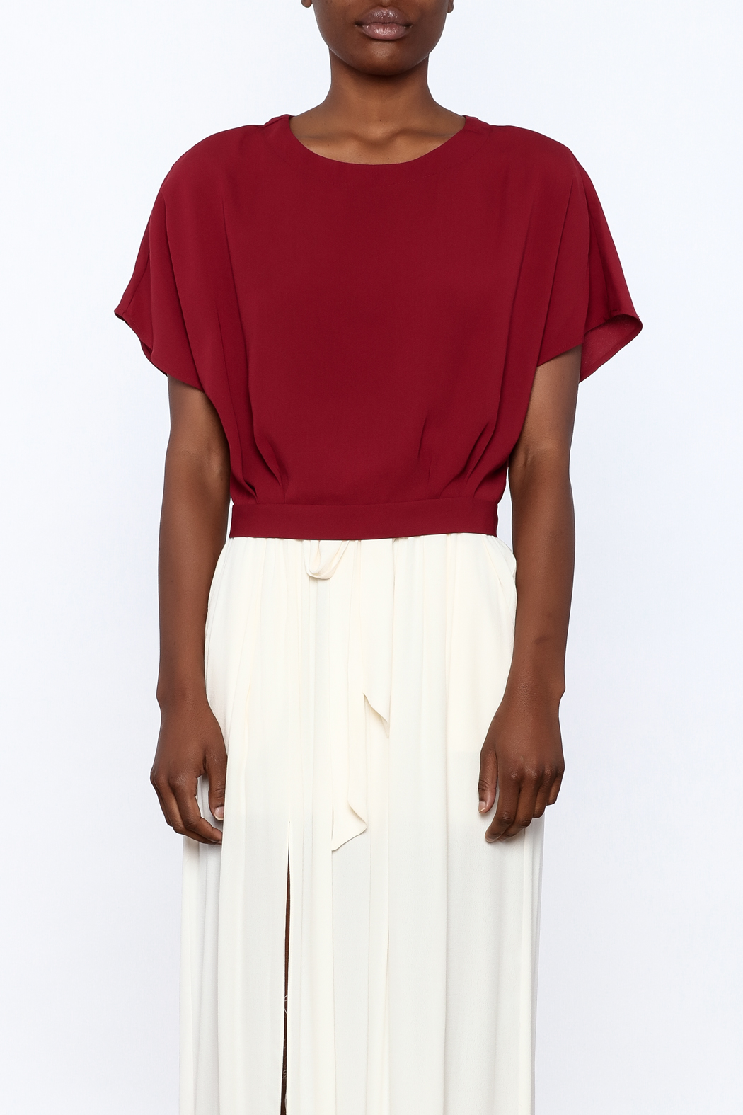 Alythea Burgundy Woven Top - Side Cropped Image