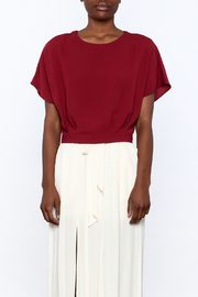 Alythea Burgundy Woven Top - Side cropped