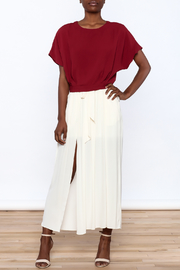 Alythea Burgundy Woven Top - Front full body