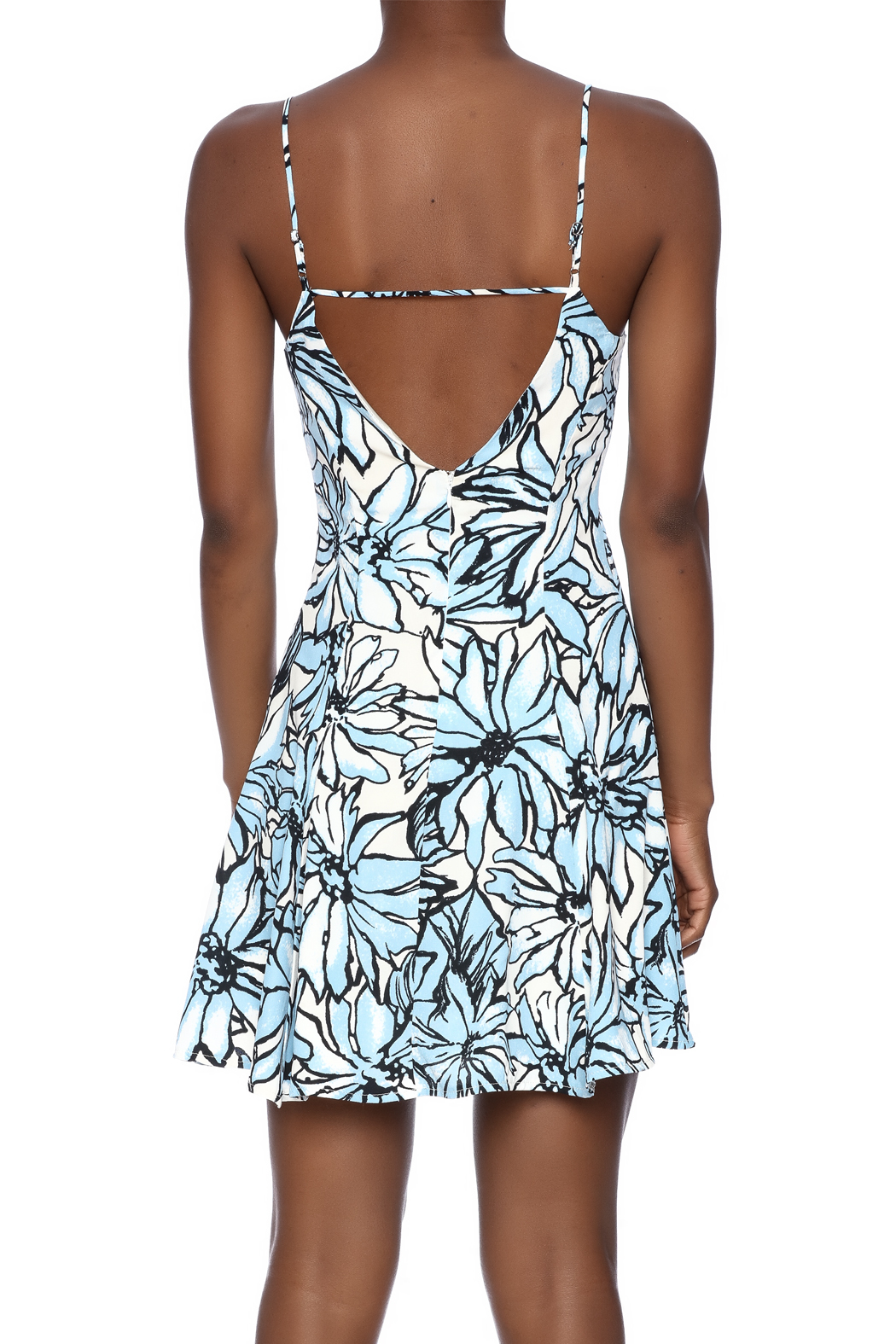 Alythea Floral Lace-Up Dress - Back Cropped Image