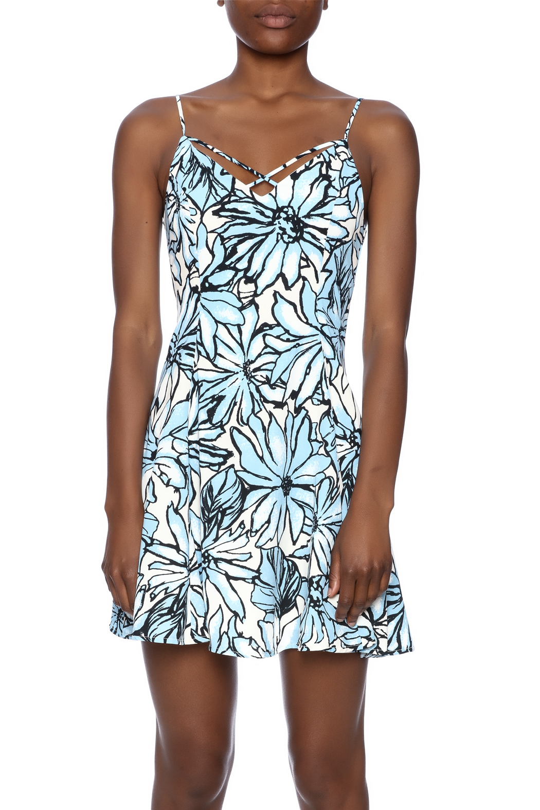 Alythea Floral Lace-Up Dress - Side Cropped Image