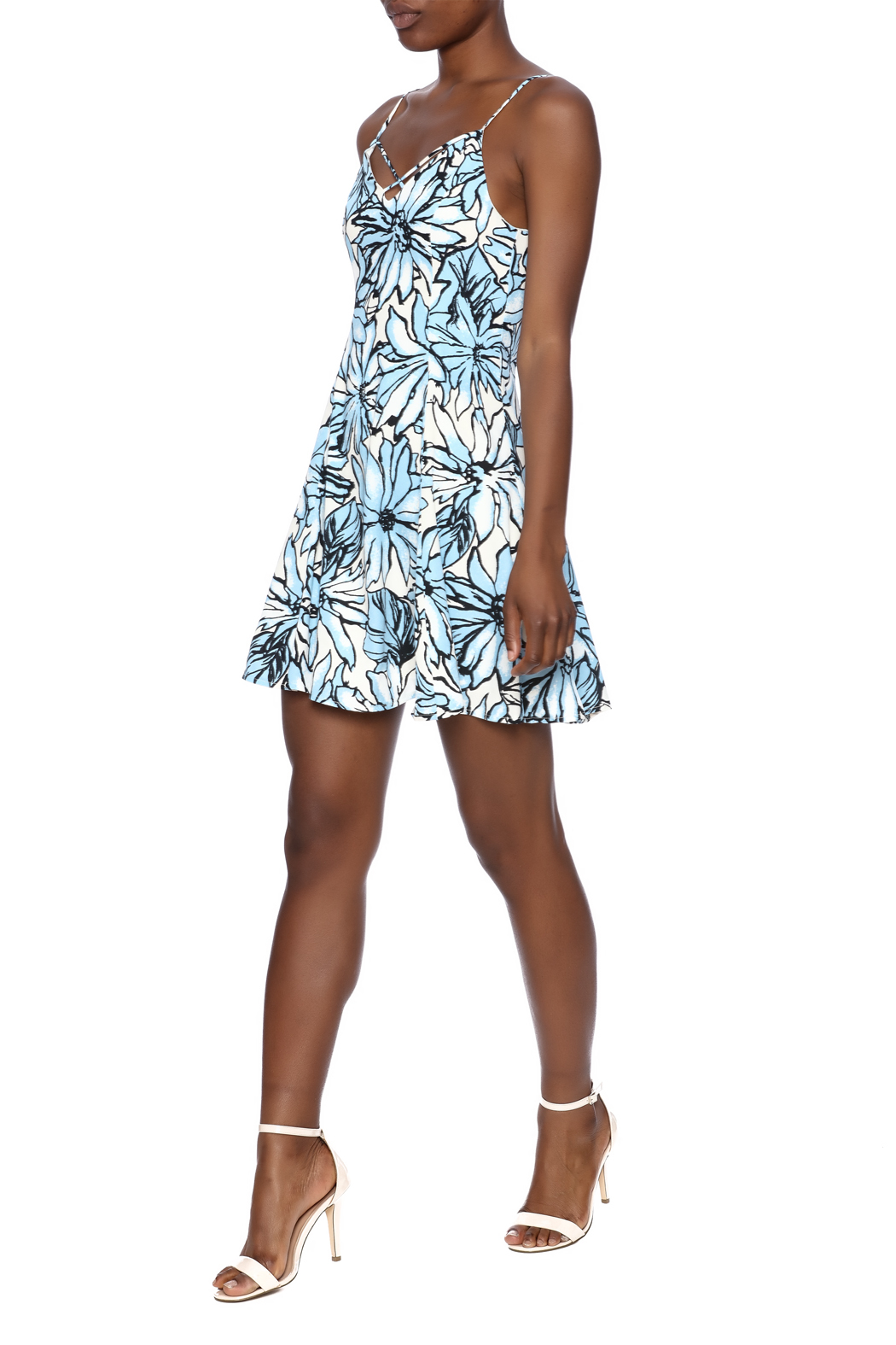 Alythea Floral Lace-Up Dress - Front Full Image