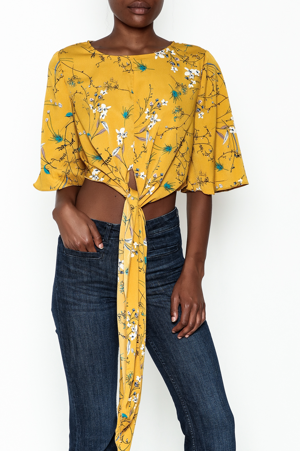 Alythea Floral Tie Top - Front Cropped Image