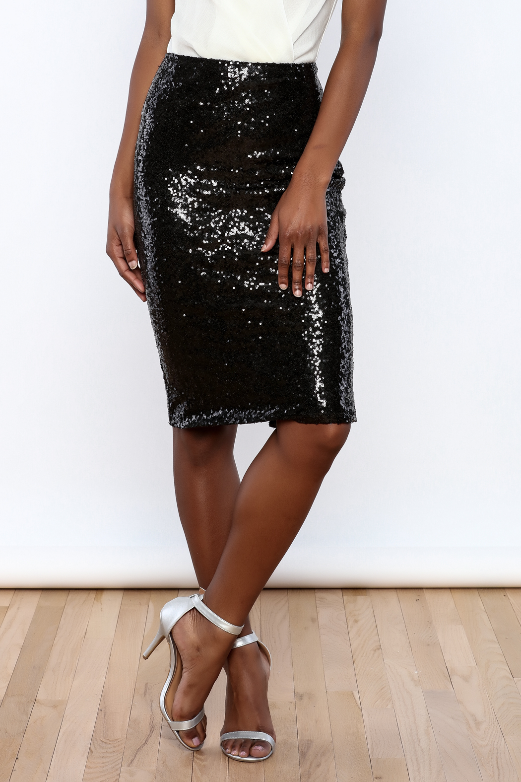 Alythea Black Sequin Pencil Skirt from New York City by ...