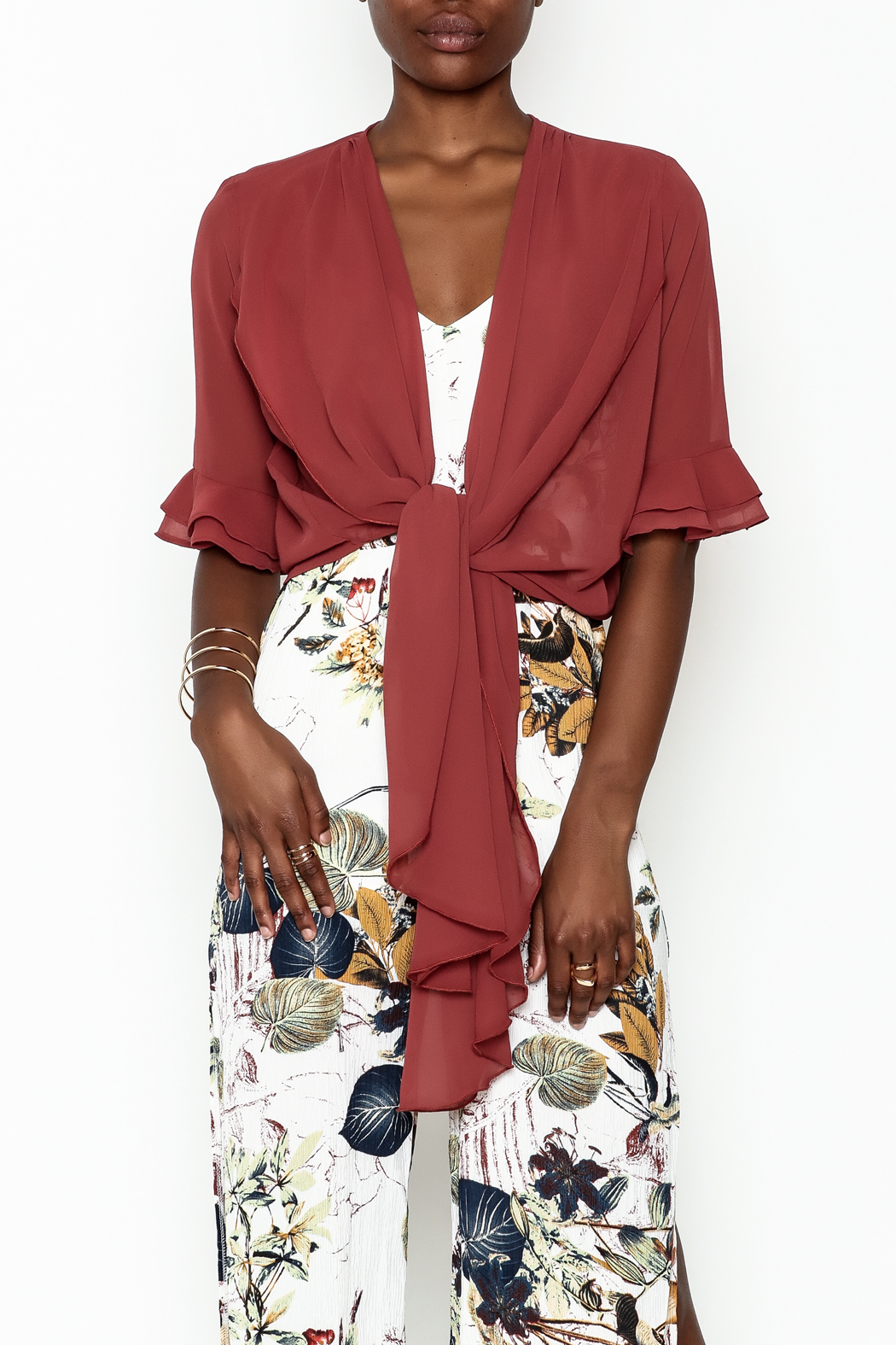 Alythea Sheer Wrap Blouse - Front Cropped Image
