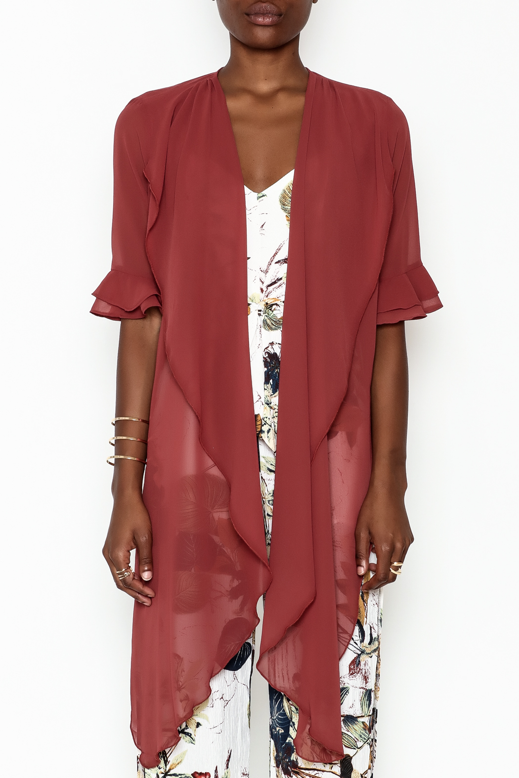 Alythea Sheer Wrap Blouse - Front Full Image