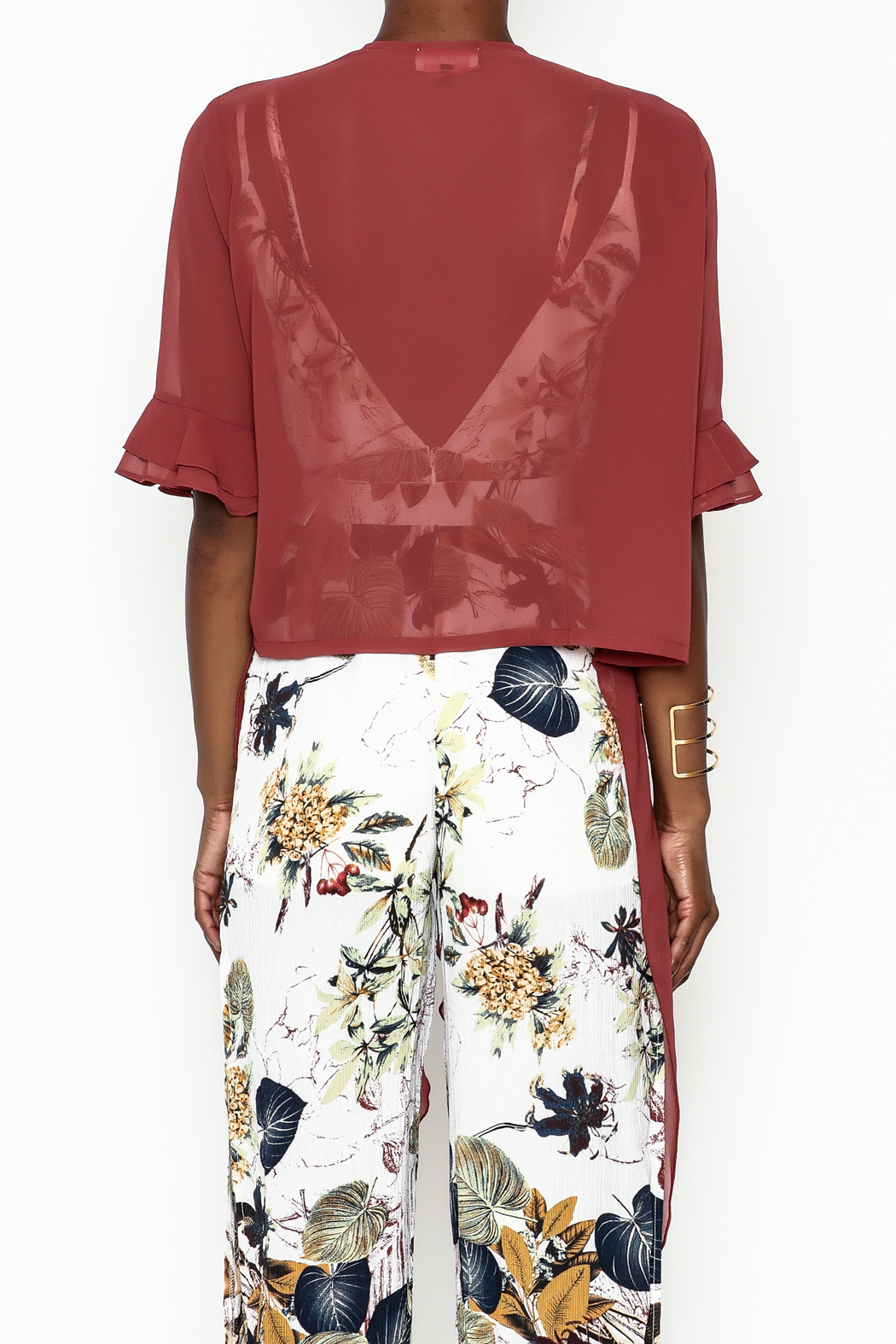 Alythea Sheer Wrap Blouse - Back Cropped Image