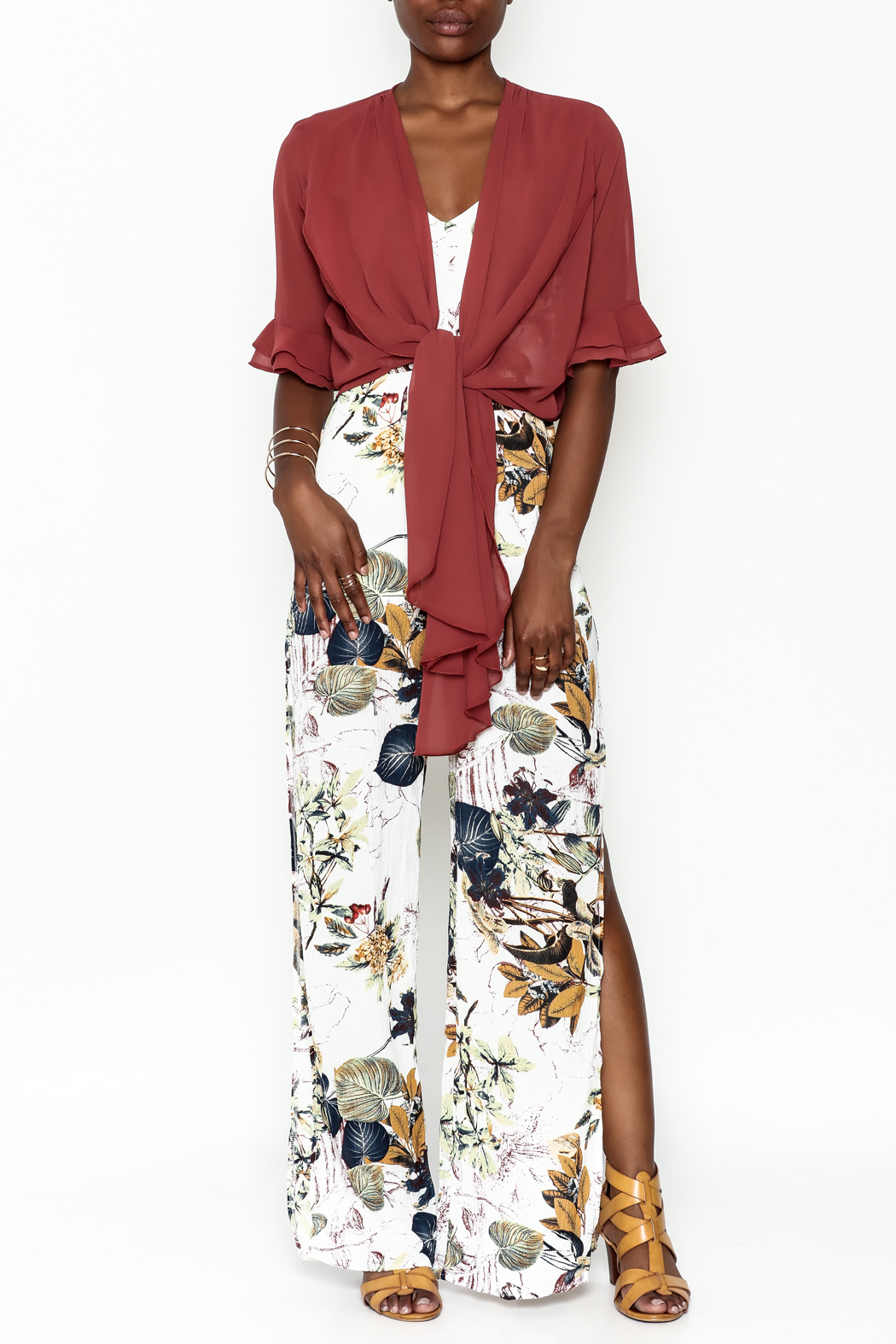 Alythea Sheer Wrap Blouse - Side Cropped Image