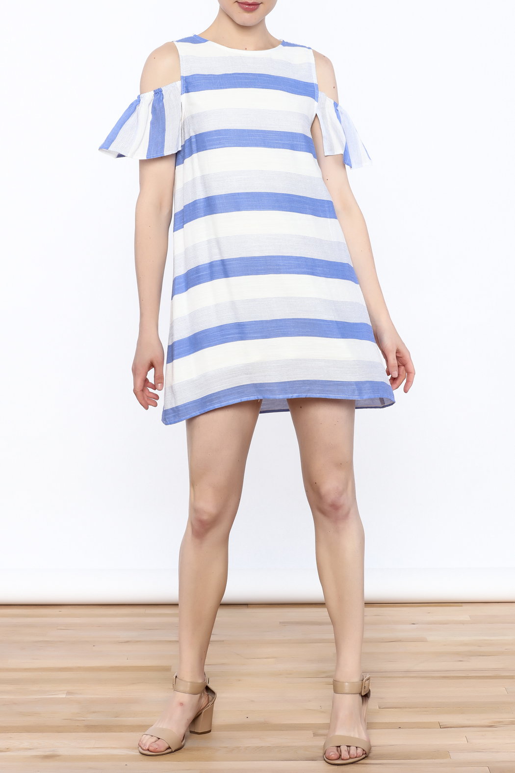 Alythea Striped Cold Shoulder Dress - Side Cropped Image
