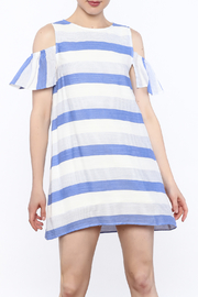 Alythea Striped Cold Shoulder Dress - Front cropped