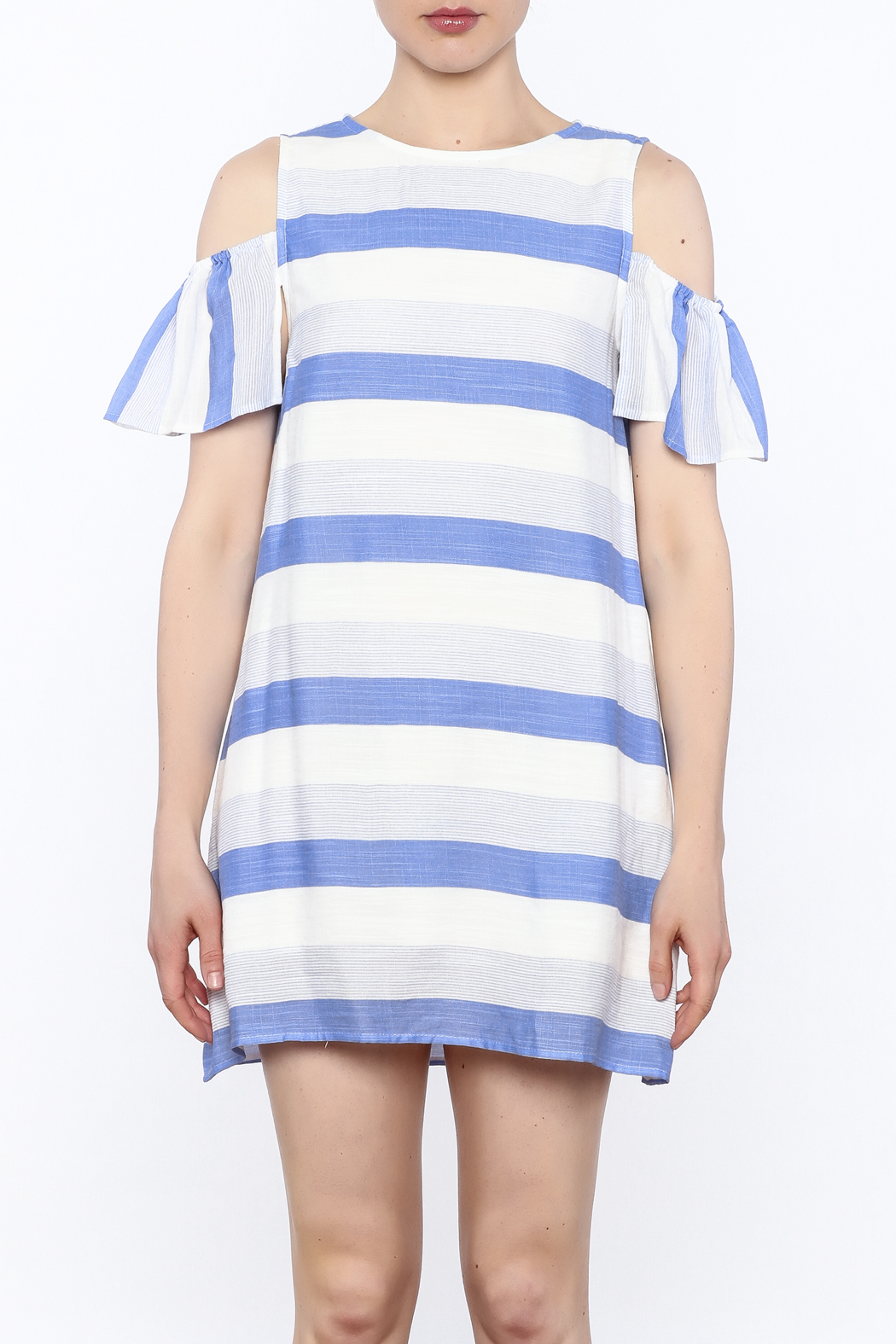 Alythea Striped Cold Shoulder Dress - Front Full Image