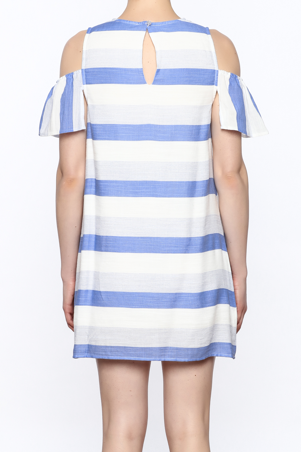 Alythea Striped Cold Shoulder Dress - Back Cropped Image