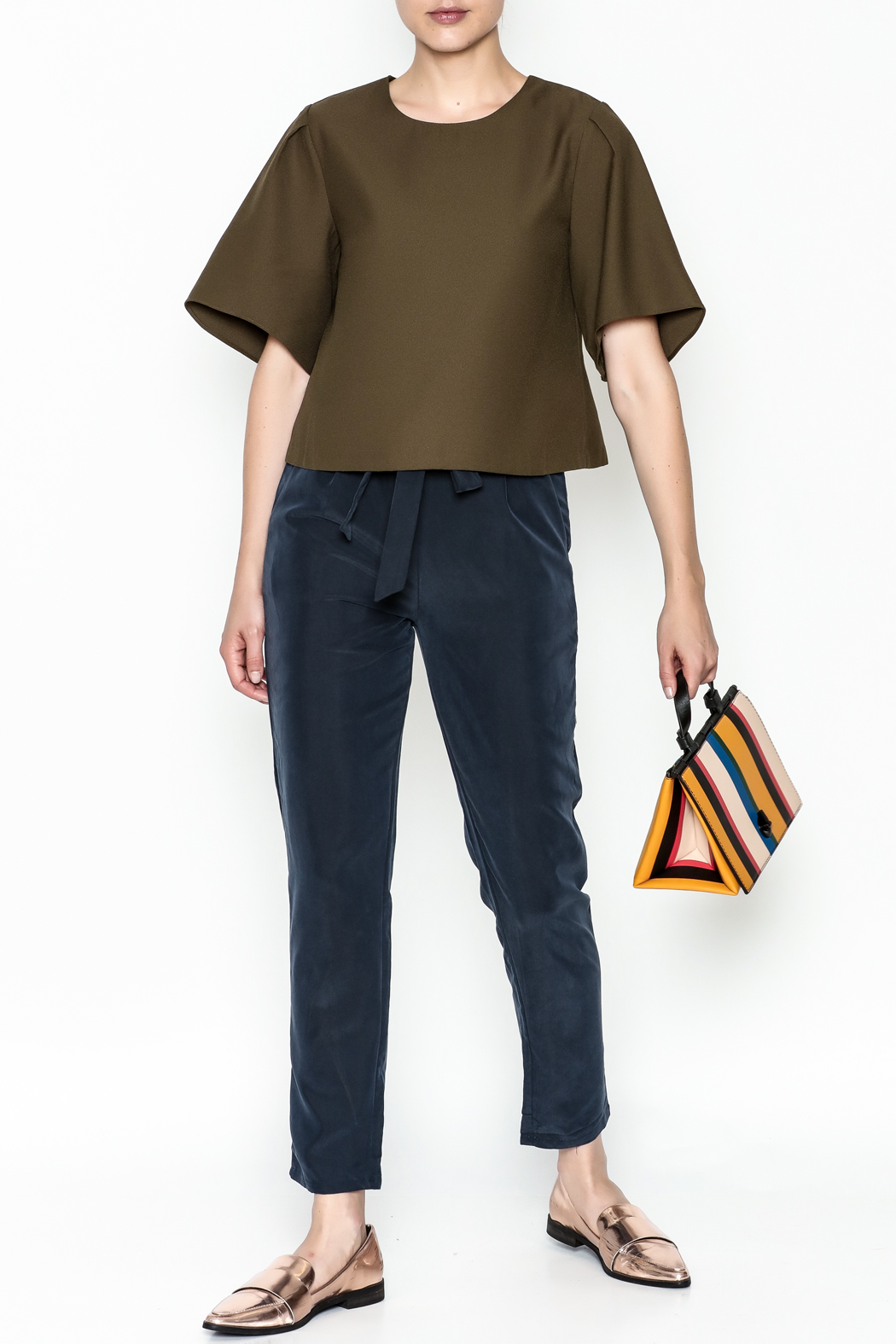 Alythea Wide Sleeve Crop Blouse - Side Cropped Image