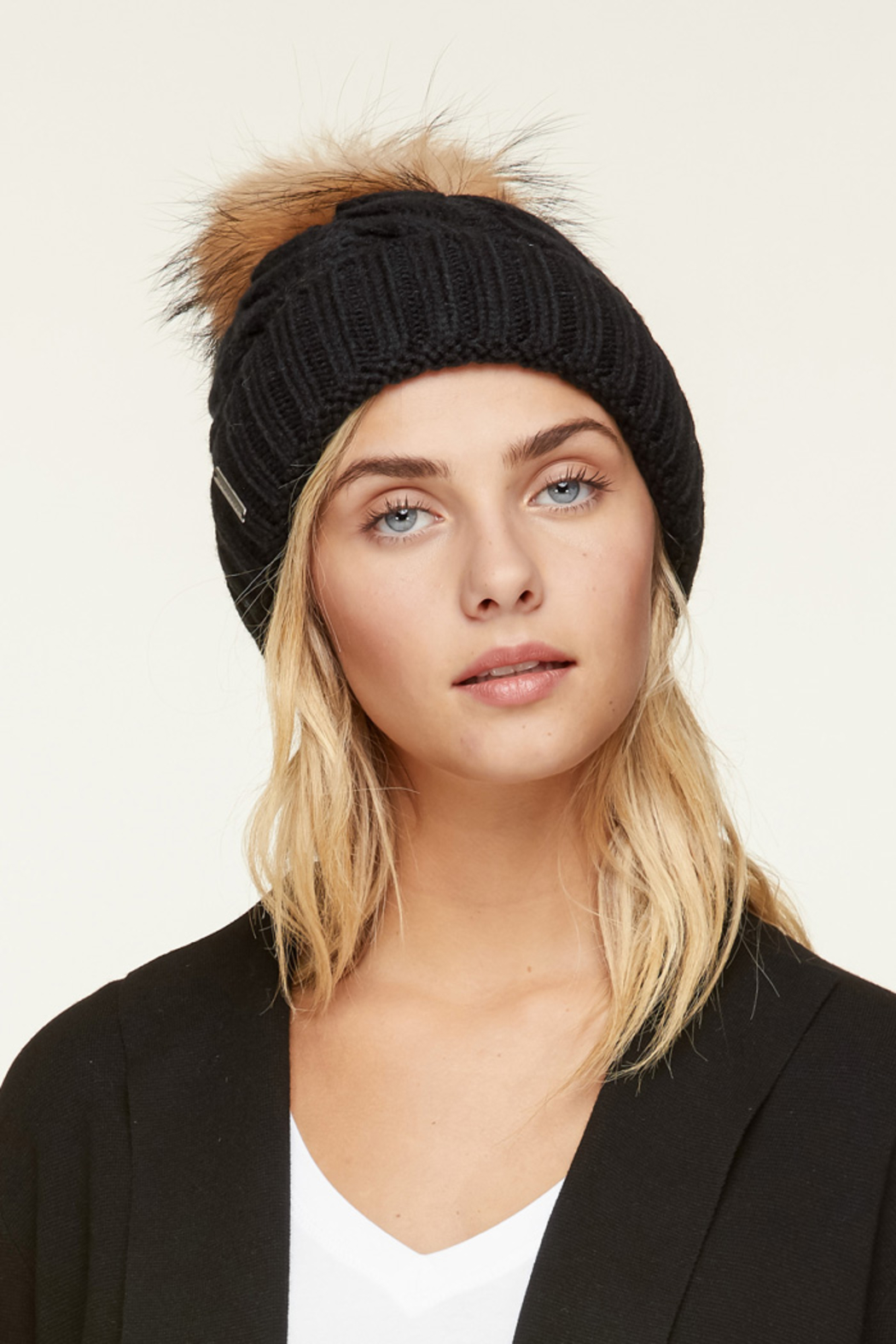 Soia & Kyo AMALIE FUR POM POM CABLE KNIT HAT - Front Cropped Image