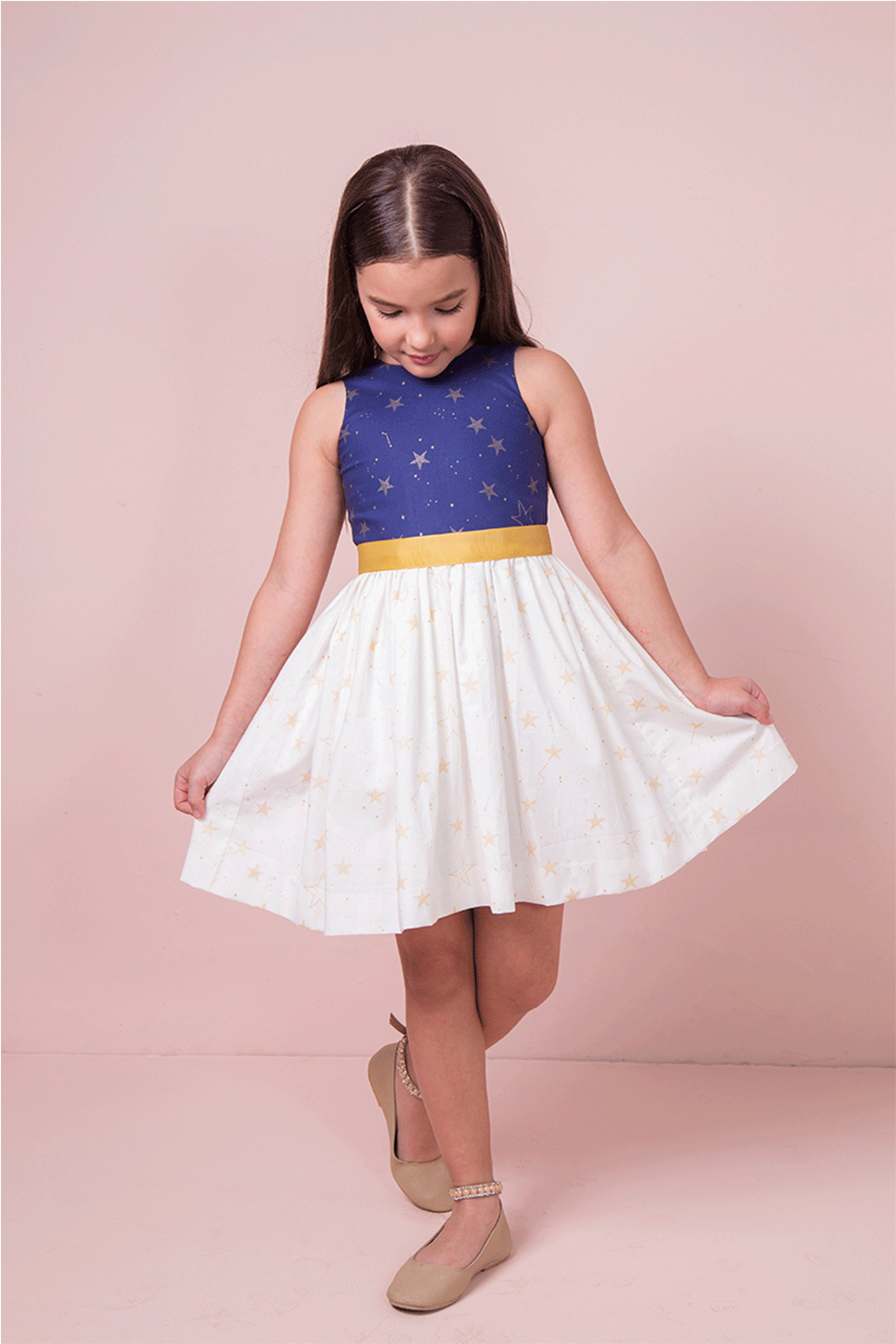Mandy by Gema Amanda Dress Lucky Stars Navy and White - Front Cropped Image