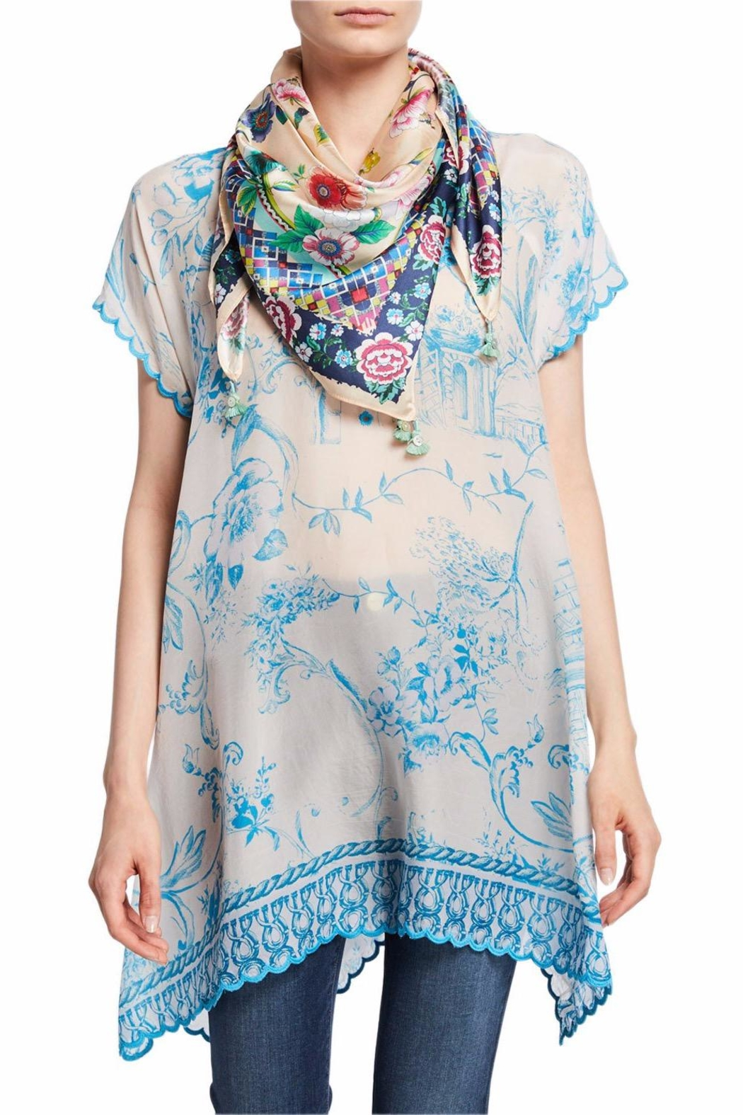 Johnny Was Amanda Floral-Print Scarf - Front Cropped Image