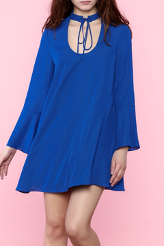 Shoptiques Product: Blue Flowy Long Sleeve Dress