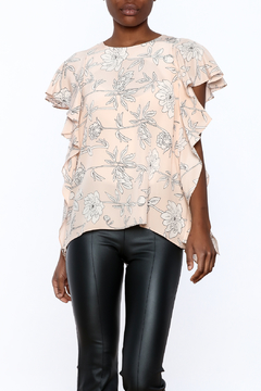 Amanda Uprichard Blush Floral Silk Top - Product List Image