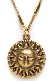 Amano Trading Gold Sun Necklace - Front full body