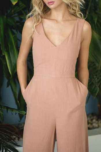 Peach Love Amaya Linen Jumpsuit from Florida by Dressing Room Boutique — Shoptiques