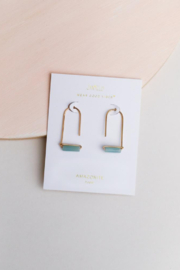 JaxKelly Amazonite Gemstone Drop Earrings - Product Mini Image