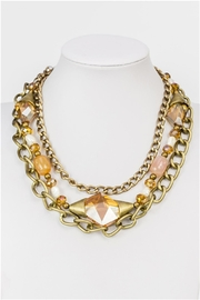 Sweet Romance Amber Chizel-Crystal-Metal Necklace - Product Mini Image
