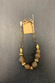 debe dohrer design Amber glass beads with African brass - Front full body