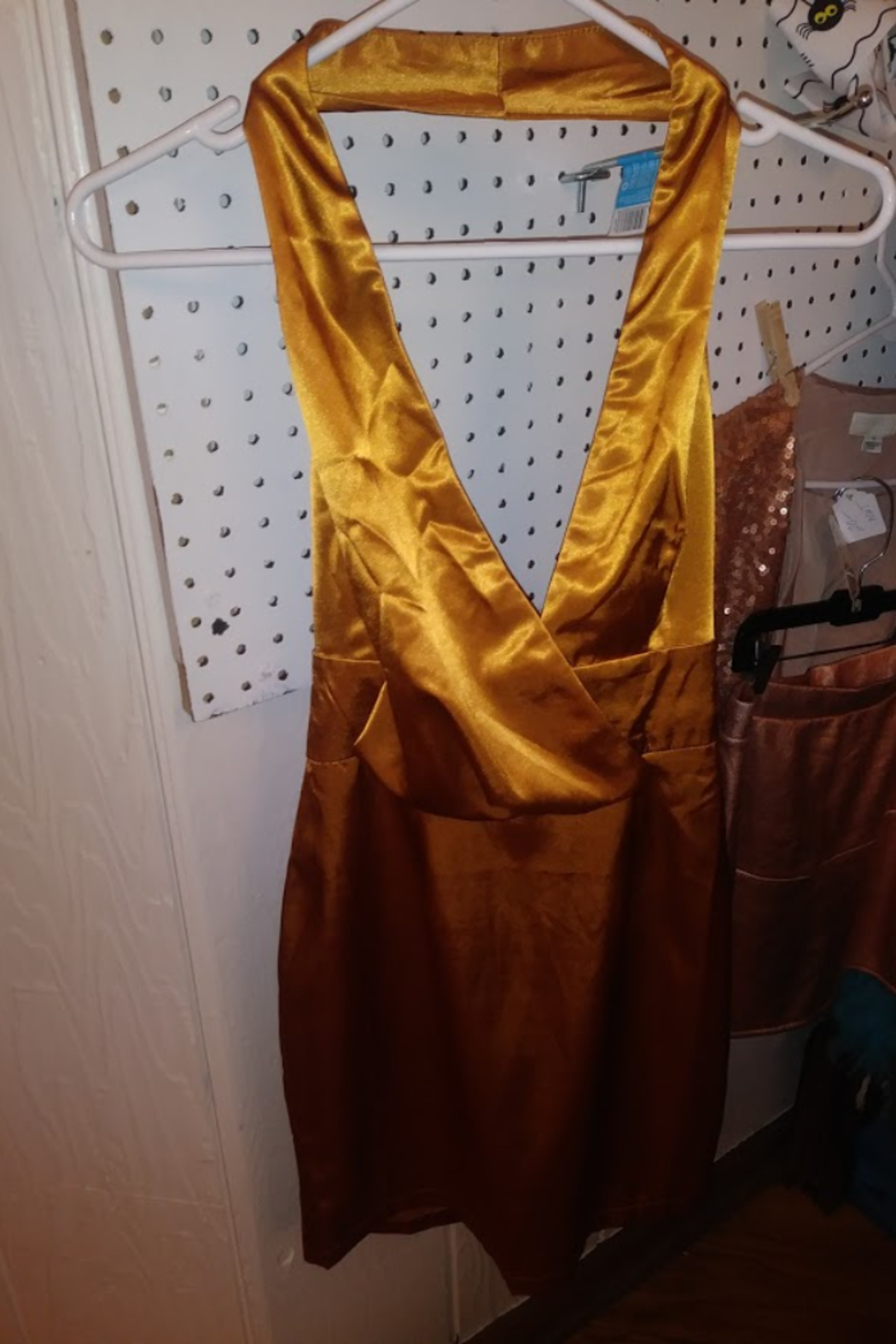 Misguided Amber Gold Silk Haler Dress By - Front Cropped Image