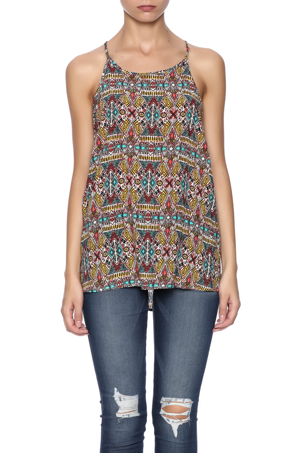 Ambiance Aztec Printed Tank - Side Cropped Image