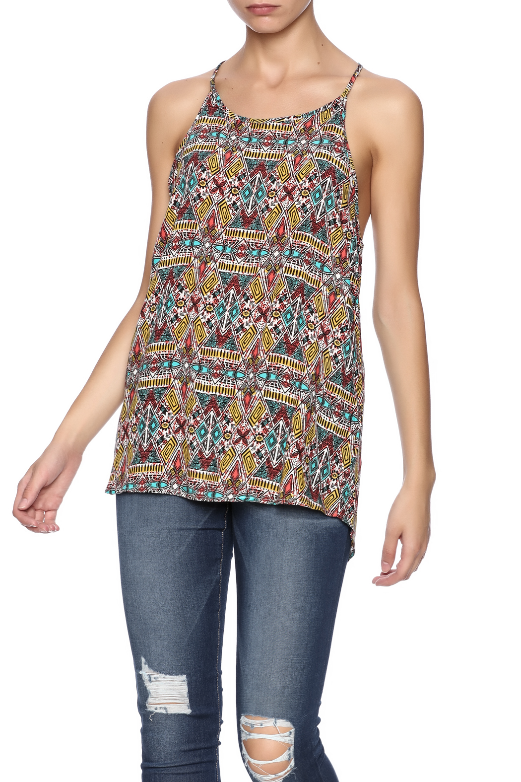 Ambiance Aztec Printed Tank - Front Cropped Image