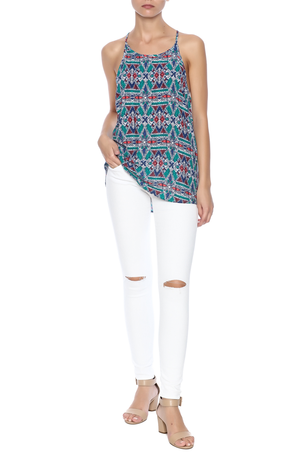 Ambiance Aztec Printed Tank - Front Full Image