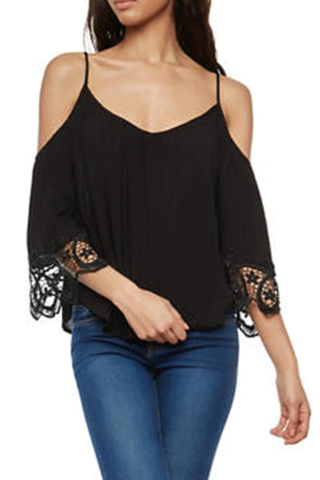 Ambiance Cold-Shoulder Lace Blouse - Main Image