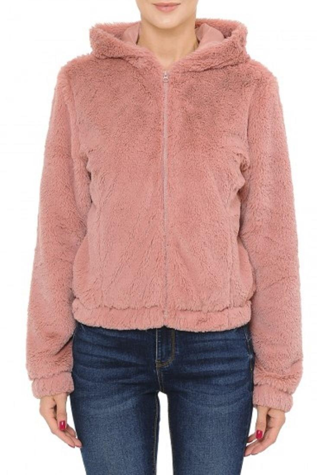 Ambiance Faux-Fur Hooded Bomber - Main Image