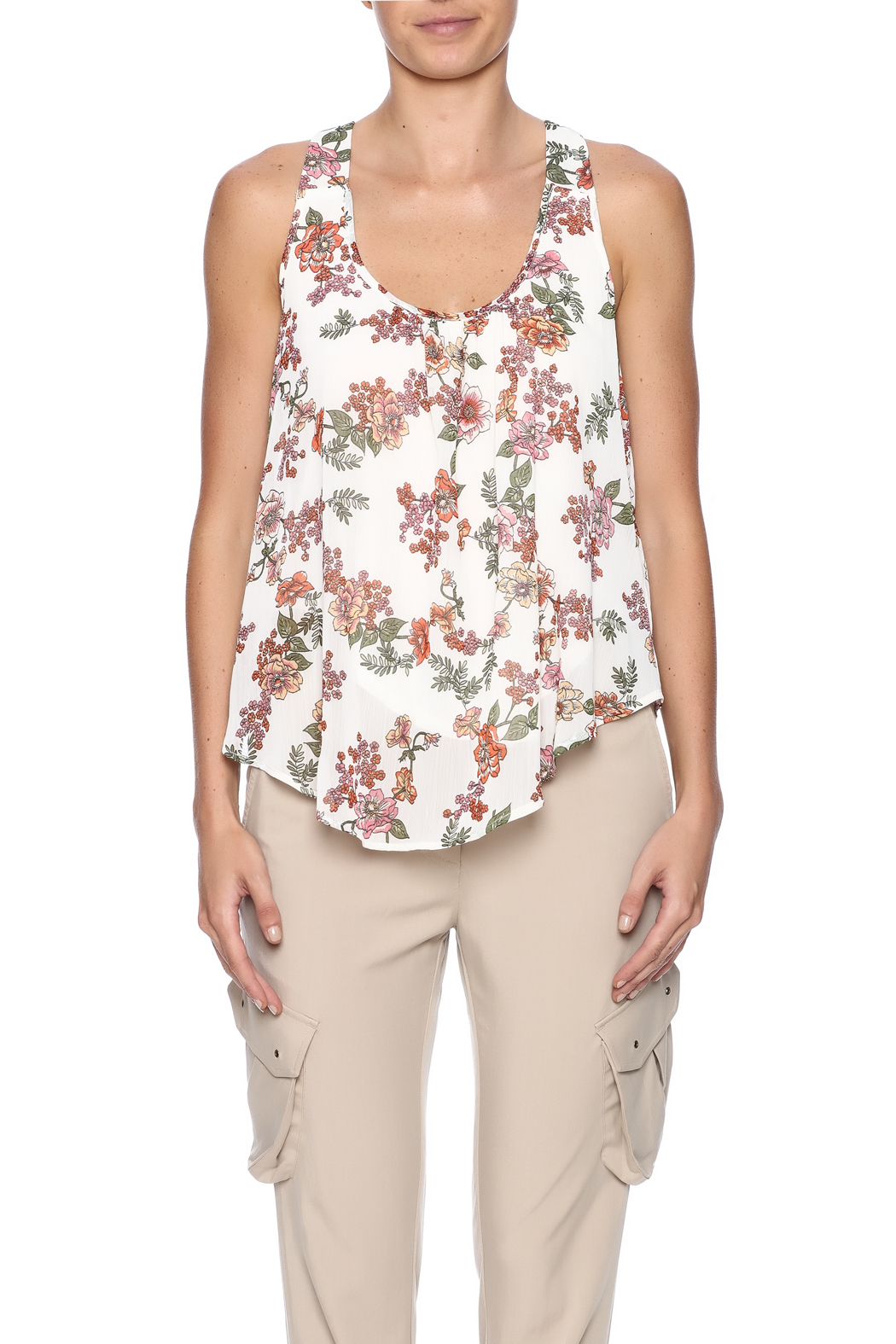 Ambiance Floral Print Tank - Side Cropped Image