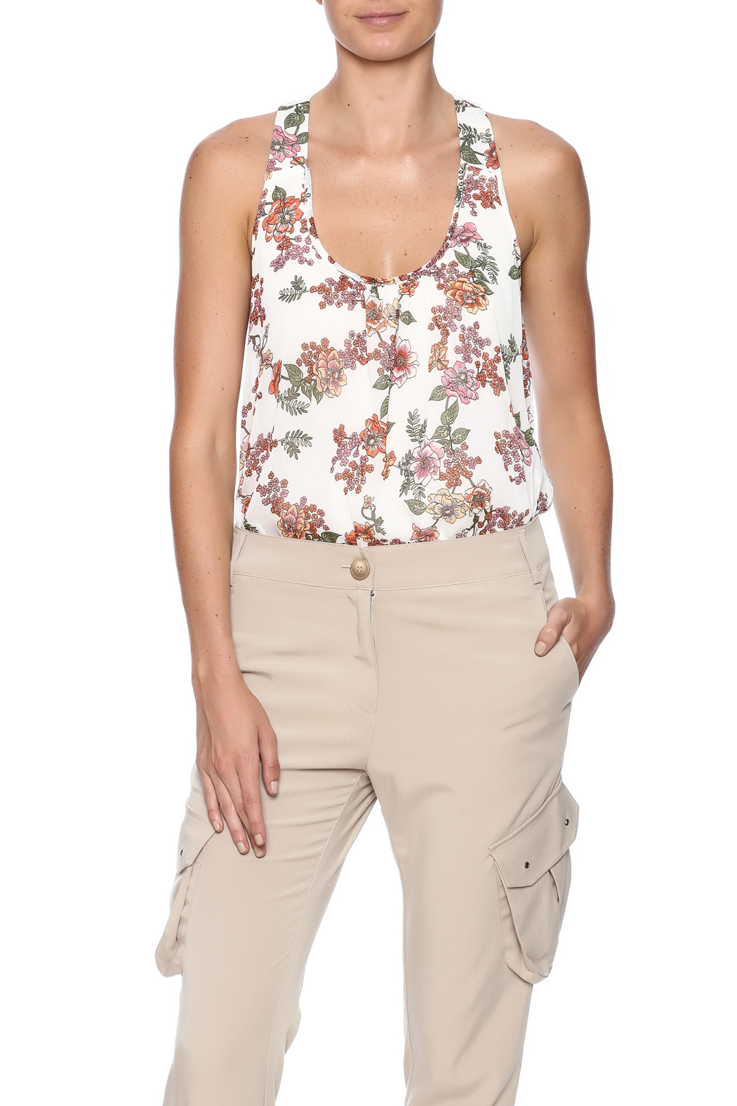 Ambiance Floral Print Tank - Front Cropped Image