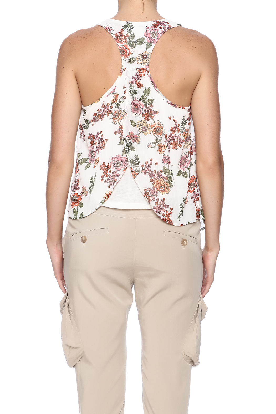 Ambiance Floral Print Tank - Back Cropped Image