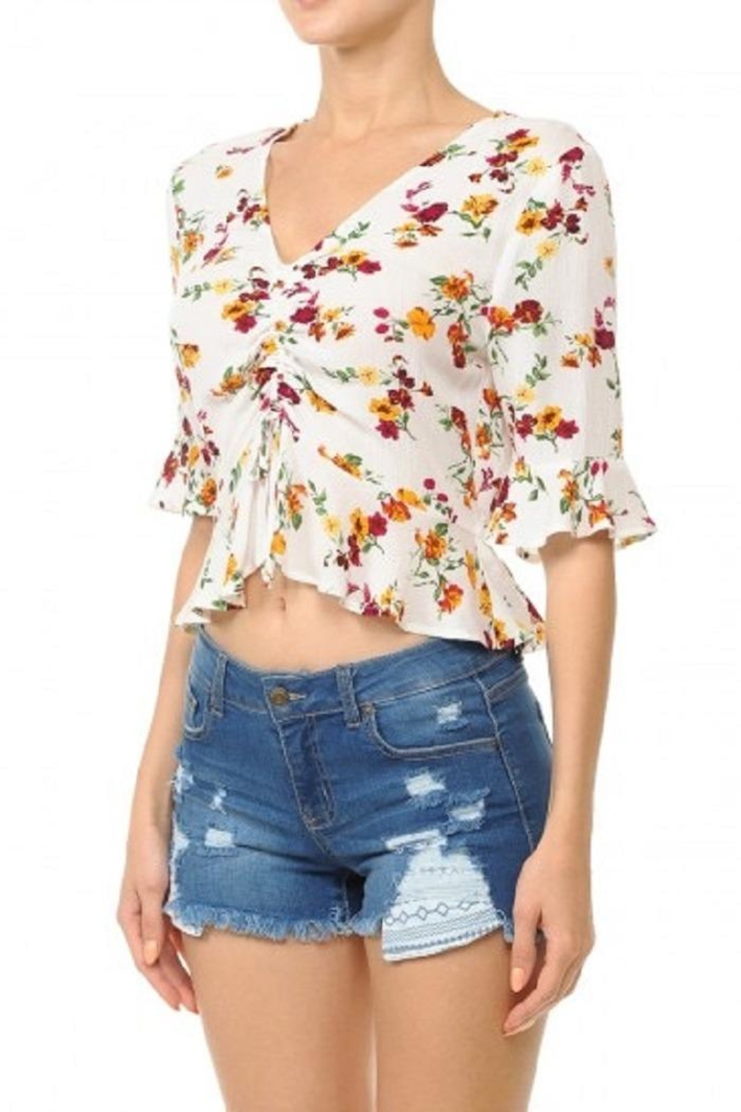Ambiance Front Ruched Crop-Top - Front Full Image