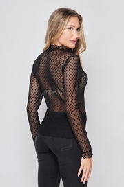 Ambiance Polka Dot Mesh Top - Front full body
