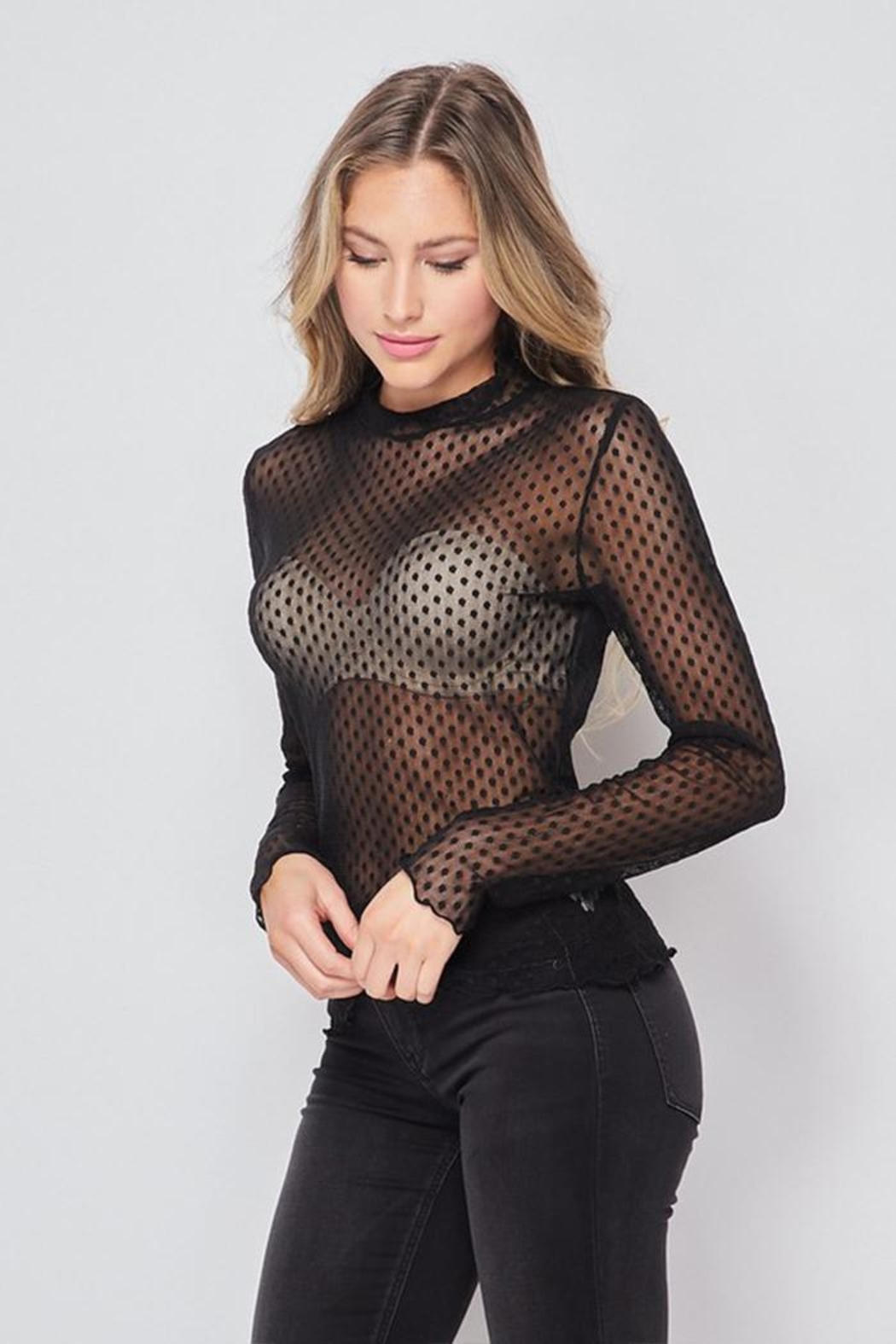 Ambiance Polka Dot Mesh Top - Side Cropped Image