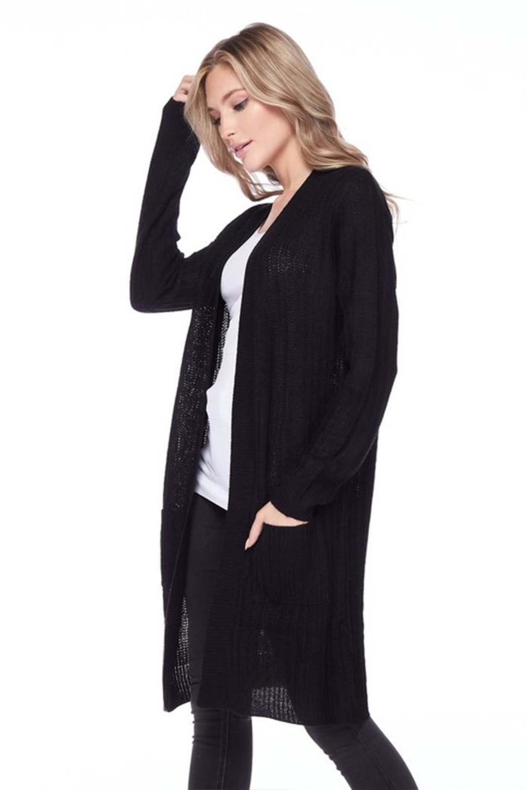 Ambiance Ribbed Duster Cardigan - Side Cropped Image