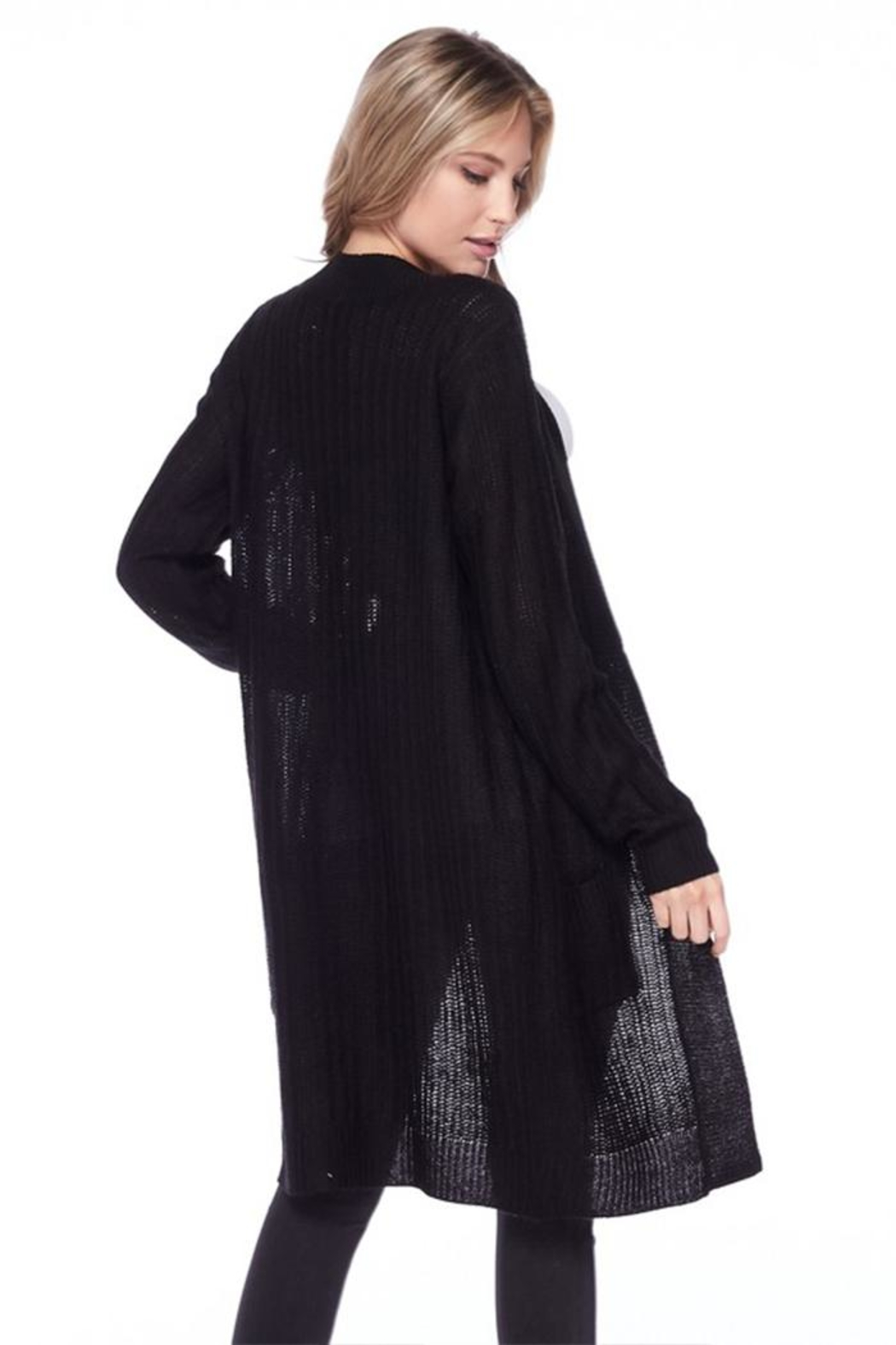 Ambiance Ribbed Duster Cardigan - Back Cropped Image