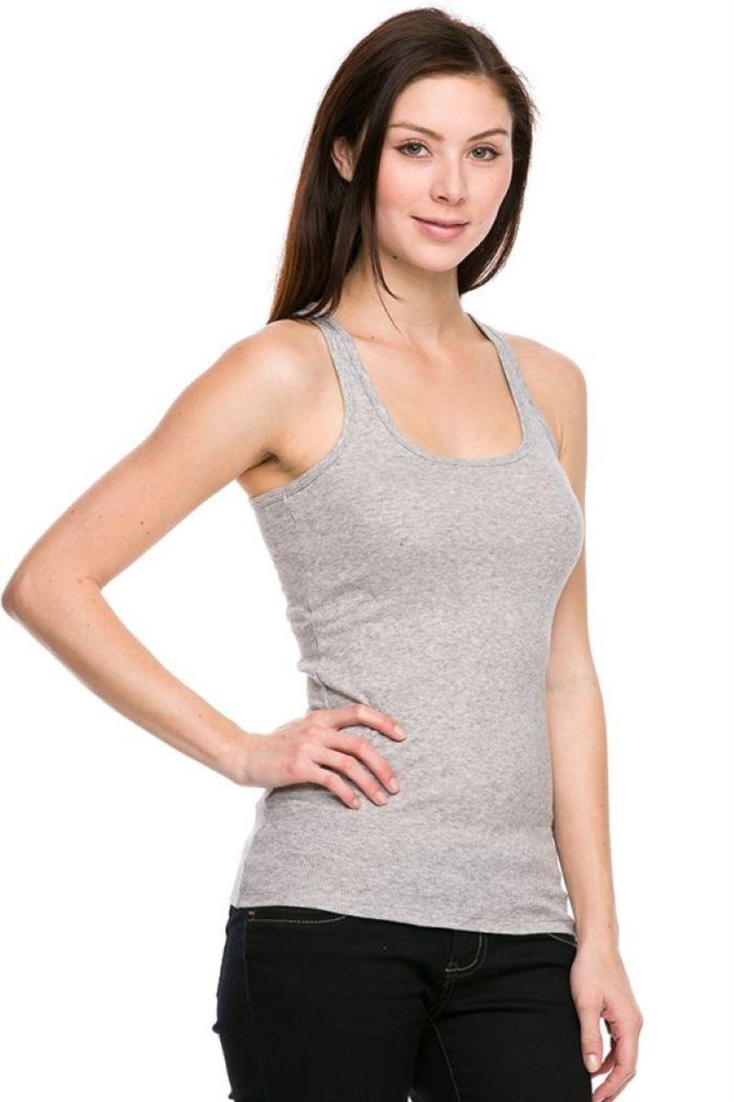 Ambiance Ribbed Racer Back Tank Top - Back Cropped Image